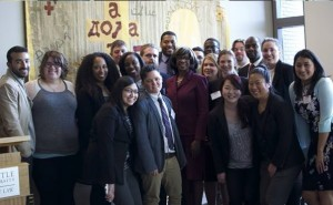 President Brown pictured with law students from Seattle University, Gonzaga, and University of Washington
